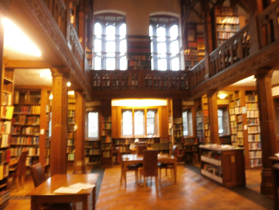 Inside the library.