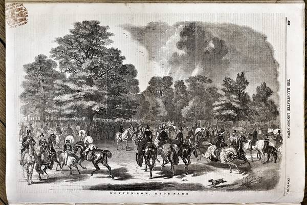 Woodcut of Hyde Park from Illustrated London News